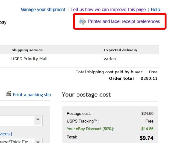 Print shipping labels directly from the ebay website to your